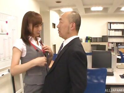 Asian on fire rides her boss's cock for a bigger raise