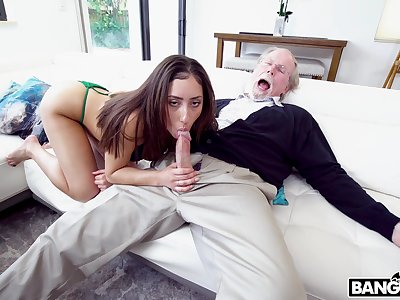 Sweetie sucks and fucks the papa until he loses his energy