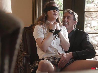 Deep sex for submissive schoolgirl helter-skelter older man