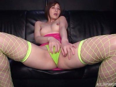Horny Sasaki Aki takes her favorite dildo to satisfy her sexual desires