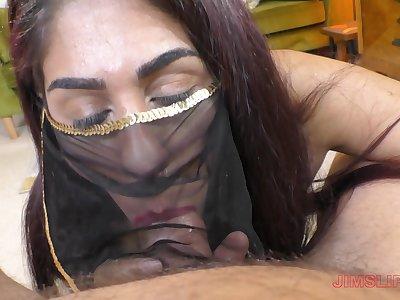 Redhead slut Sahara Knite swallows cum after a hard fuck