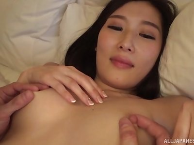 Amateur Japanese cutie Sakai Eriko spreads legs for a fuck