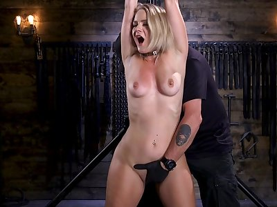 Teen blonde babe Lisey Sweet loves to be helpless and abused