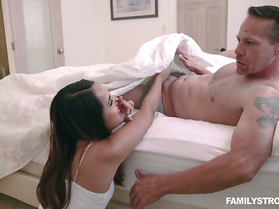 Lustful stepdaughter Sheena Ryder gives a tugjob close to front of sleeping mommy