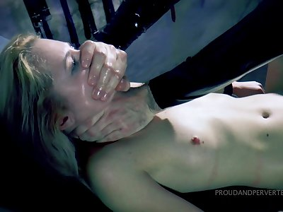 Gagged hottie gets punished by being fucked at hand all respects holes then jizzed