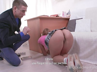 Sexy student doesn't wear panties with one's eyes wide open and that girl loves sex a lot