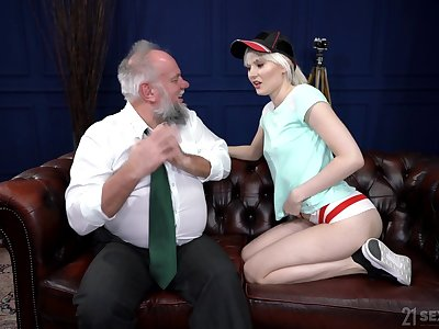 Perverted pensioner enjoys fucking young blond prostitute Miss Melissa