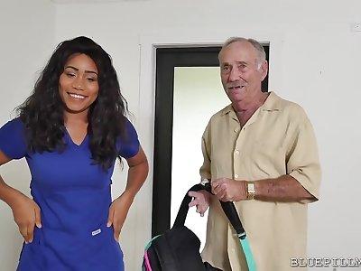 Big-Breasted Swarthy Nurse Fucks With A Real Old Man