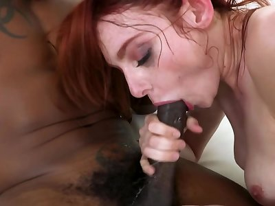 Black stallion fucks red-haired nympho's pussy the way she wants